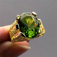 New Fashion Male Peridot Oval Finger Ring  Big Crystal Zircon Stone Ring 14KT Yellow Gold Promise Engagement Rings For Men