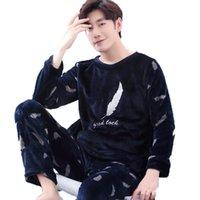 Inverno pigiami da uomo di spessore corallo del panno Uomo Pigiama Set O-Collo maniche lunghe Pigiama uomo Sleepwear Warm maschio Homewear