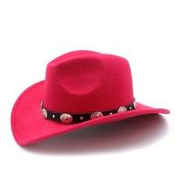 Nuovo cappello retrò in lana dei bambini dei bambini inverno cappello di Fedora Per ragazza del ragazzo occidentale del cowboy Cowgirl protezione di jazz con il cuoio Toca Sombrero Cap 54CM