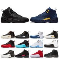 Gym rouge pas cher hiberné 12 12s Basketball Hommes Chaussures College Navy Black Wings Université CNY Bleu hommes Baskets Taille 7-13
