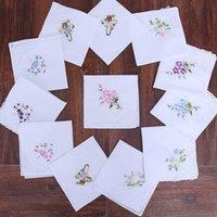 100 %면 손수건 자수 레이스 Ladies'handkerchiefs 흰 손수건 28 * 28cm