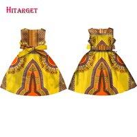 Roupas étnicas Moda Meninas Africano Vestidos Vestidos Kanga Dashiki Cera Imprimir Sem Mangas A-Linha Java Roupas WYT57
