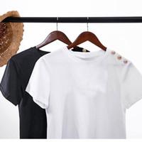 camisas de alta calidad de la manera de las mujeres T para las camisas de la manga de la mujer Algodón divertido de Oro Carta corta T lindo de la muchacha ocasional del algodón T Shirts