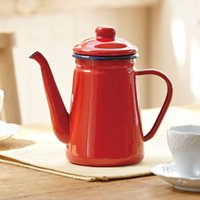 1. 1L High- Grade Enamel Coffee Pot Pour over Milk Water Jug P...