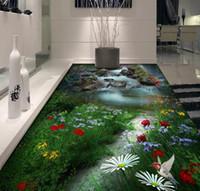 Personalizzato Piano 3D Wallpaper Paesaggio fiori e uccelli soggiorno bagno camera da letto del PVC Floor Sticker Pittura murale Carta da parati impermeabile