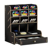 Yüksek kapasiteli ahşap kalem sahibi saklama kutusu moda yaratıcı çoklu çerçeve kalem tutucu DIY depolama rafı kırtasiye ofis malzemeleri