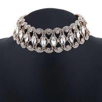 volle Diamanten Chokers Frauen Kristall kurze Halsketten Mädchen modische Schmuck Abendkleid Accessoires drei Farben Silber golden schwarz