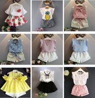도매 10 개 스타일 아이 디자이너 옷 여자 쉬폰면 T 셔츠 탑 + 반바지 바지 스커트가 설정 2PCS 아기 소녀 디자이너 BY0846 옷