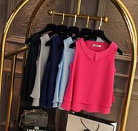 الحجم الكبير وزرة قميص المرأة 2019 أنثى لون الصلبة طبقة مزدوجة الشيفون قميص بلا أكمام عارضة فضفاض الأعلى زائد حجم الملابس XFS29