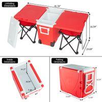WACO picnic al aire libre heces conjunto con la revista Rolling refrigerador de la tabla, 2pcs de tela plegable portable de la pesca heces extraíble de picnic sillas de camping Rojo
