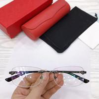 Lüks tasarlanmış CT0039sa erkekler için çerçevesiz gözlük 54-18-145 dikdörtgen lens saf-titanyum jant tam set ambalaj ile reçeteli gözlükler için