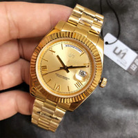 U1 Factory ST9 Gold Roman Dial Day Date Automatic Movement 40MM Men Watch Watches 316L Stainless Steel Bracelet Mens 118238 Wristwatches