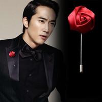 Tissu Rose Flower Broche Pins pour hommes Uniformes manteau Vêtements Badge Badge Pin mâle Mariage Fête Engagement Bijoux Bijoux Accessoires