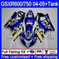 Кузов + бак для SUZUKI GSXR 750 GSX R750 K4 gsxr 600 GSX-R600 04 05 295HM.18 GSXR-750 Мовистар синий GSXR600 GSXR750 04 05 2004 2005 обтекатели