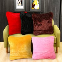 Soft Fluffy Solid Plüsch Kissenbezug Platz Sofa Komfortable Dekokissen Fall Home Stuhl Sitz Taille Dekorative Decor