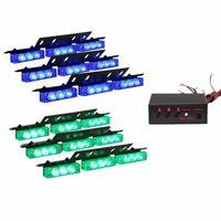 54x LED de camion de voiture Strobe véhicules d'urgence Lumières Bars pont Dash Grill Feux d'avertissement (Vert Bleu)