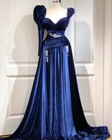 Reali Abiti da sera blu 2020 di lunghezza del merletto del velluto Sweetheart maniche lunghe arabo completa Occasioni abiti convenzionali di promenade vestido de noiva