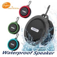 Mini C6 IPX7 Açık Spor Duş Su Geçirmez Kablosuz Bluetooth Hoparlör Vantuz iPhone6 Artı HTC Samsung Için Handsfree MIC Ses Kutusu