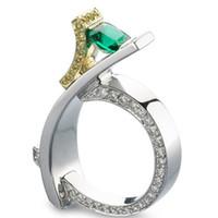 Encantos Princesa Verde Praça Cut Zircon Anéis De Luxo Dupla Cor Pavimentada CZ Anéis De Casamento De Cristal Para As Mulheres Bague Femme Z3M360