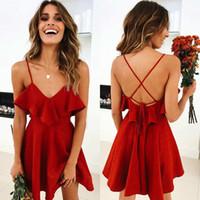 الصيف فستان مثير المرأة عارية الذراعين الرباط الصليب الكشكشة حزمة الخصر V الرقبة الشريط البسيطة اللباس الصيف الأحمر خمر
