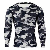 T-shirt a maniche lunghe da uomo in esecuzione sport casual da ciclismo in camouflage collant traspirante asciugatura rapida T-shirt a compressione