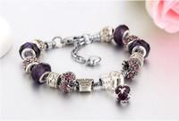 11 colori di moda argento 925 Daisies Murano GlassCrystal fascino europeo borda Adatto bracciali Charm Bracciali Style 20 + 3cm W697