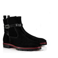 2019 Designer luxueux Boot Bas-Rouge pour les hommes Chaussures Bottines en daim noir Kicko style élégant à talons bas vachette homme Bottes Rouge Sole