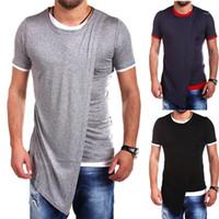 Manica corta collo solido di colore Homme Abbigliamento modo di stile casual Abbigliamento irregolare Designer Mens estate magliette Crew