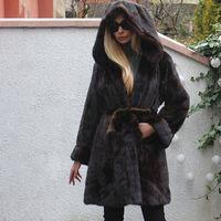 FURSARCAR 2019 Yeni Moda Doğal Gerçek Kahverengi Vizon Swinger Ceket Kadınlar Için Büyük Hood Ile Lüks Uzun Kış Hakiki Kürk Ceket