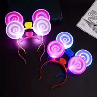 LED Light Up Lollipop Headband Party Glowing Supplies Kobiety Dziewczyna Migające Włosy Zespół Koncertowy Wentylator Wesoły Prezent Prezent