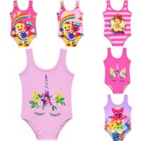 Unicorn Baby Girls Baby Shark Swimwear Bambini Estate Cartoon Bikini Costume da bagno infantile Beach Kid Abbigliamento Tute 12 colori