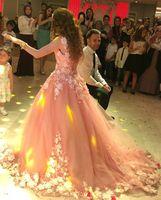 Güzel Allık Pembe Bohemian Gelinlik Ile Çiçek Yaz Plaj Boho Gelinlik Ile Dantel 2019 Resepsiyon Törenlerinde elbiseler de mariée