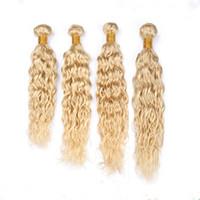 Biondo Malese Bleach Umani estensioni di trama dei capelli bagnati e ondulati 4 pezzi Lotto # 613 Capelli biondi di Remy Virgin Bundles offerte di affari Wave Wave Weaves