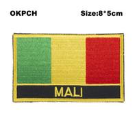Spedizione gratuita 8 * 5 cm Mali Shape Messico Flag Ricamo Iron on Patch PT0115-R