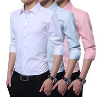 Плюс Большой размер 8XL 7XL 6XL 5XL Mens Business Casual рубашка с длинными рукавами Тонкий Fit Solid Мужской Обычный рубашки платья Pink 2020 Новый