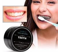 Alimentos dientes grado en polvo pasta de dientes de bambú dentífrico Oral Care Higiene limpieza de dientes naturales activadas de carbón orgánico amarillo de la mancha
