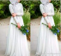 2018 vestidos de novia musulmanes con simples cristales de cuentas blancas puras cuello alto manga larga vestidos de novia con encanto