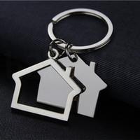 جميل منزل على شكل سلاسل المفاتيح المعدنية أقراط منزل تصميم سلسلة مفتاح السيارة مفتاح قلادة حامل مفتاح KKA7540