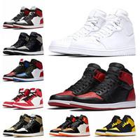 Nike Air Jordan Retro 1 1s النساء الرجال المدربين أحذية رياضية Jumpman 1 1S أحذية كرة السلة الثلاثية البيضاء الزيتون قماش شيكاغو الظل UNC ولدت تو لعبة الأزرق الملكي قبالة