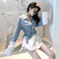 yaka aşağı 2020 Yeni tasarım kadın dönüşü uzun kot kot patchwork renk bloğu kanatları ince bel bluz gömlek üstleri manşonlu
