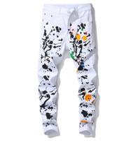 New White Jeans Uomo Denim Jeans Uomo Slim Fit rettilineo Strappato elastico Skinny Pants Denim