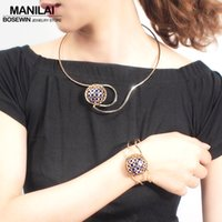 MANILAI Unique Statement Jewelry Sets Women Charm Blue Rhine...
