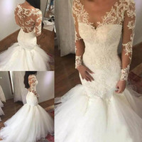 Newest Illusion Long Sleeve Mermaid Wedding Dresses Sheer V Neck Lace Appliques Bridal Gowns Cheap Vestidos De Novia Plus Size Wedding Gowns