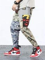 Erkek Pantolon Renkli Kamuflaj Splice Nedensel Erkekler Spor Kargo Pantolon Kamuflaj Baskılı Erkek Giyim Giyim Tasarım Uzun pantolonlar Pockets