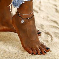 Mode Bohême Sun Pendentif Perles Bracelet Anklet Double couche Femmes Corde Anklet dans les cadeaux de bijoux Anklet Barefoot Summer Beach