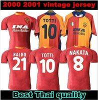 2000 2001 الرجعية روما لكرة القدم جيرسي 00 01 Totti Batistuta Candela Montella Shirt الكلاسيكية جمع الاحتفال خمر روما maglia da alcio