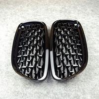 Пара передней алмазной решетки почек для F10 F18 F30 E90 G30 G38 x1 x3 x4 x5 x6 z4 глянцевый черный автомобильный тюнинг