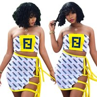 FF Luxury Beach Vacation Costume da bagno Donna Tie Rope Dresses Set Costume da bagno Tube Crop Top + Sarong Gonna Costumi da bagno di marca Nightclub Wear B7503