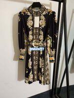 2020 mujeres diseño de lujo chicas vintage linterna camisa de vestido de manga adaptada con estampado floral con high-galler de alta gama de la pista de manga larga.