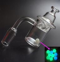 Neue Entwurfs-Quarz-Banger Nagel mit Cyclone Riptide Spinning Carb Cap Farbige Luminous Terp Perlen-Kugel Einsatz für Ölbohrinsel Glas Wasserrohr